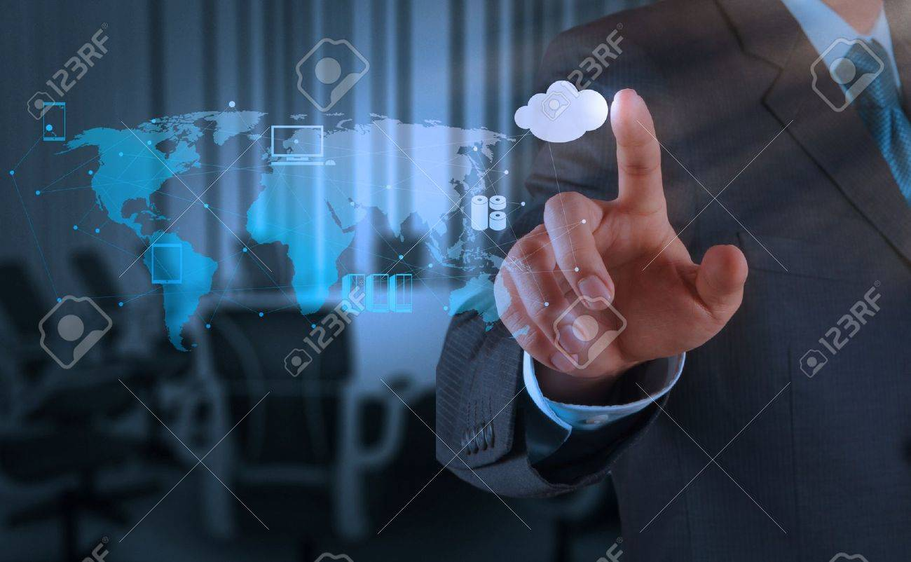 1400 x 425 images technology - Businessman Hand Working With A Cloud Computing Diagram On The New Computer Interface As Concept Stock