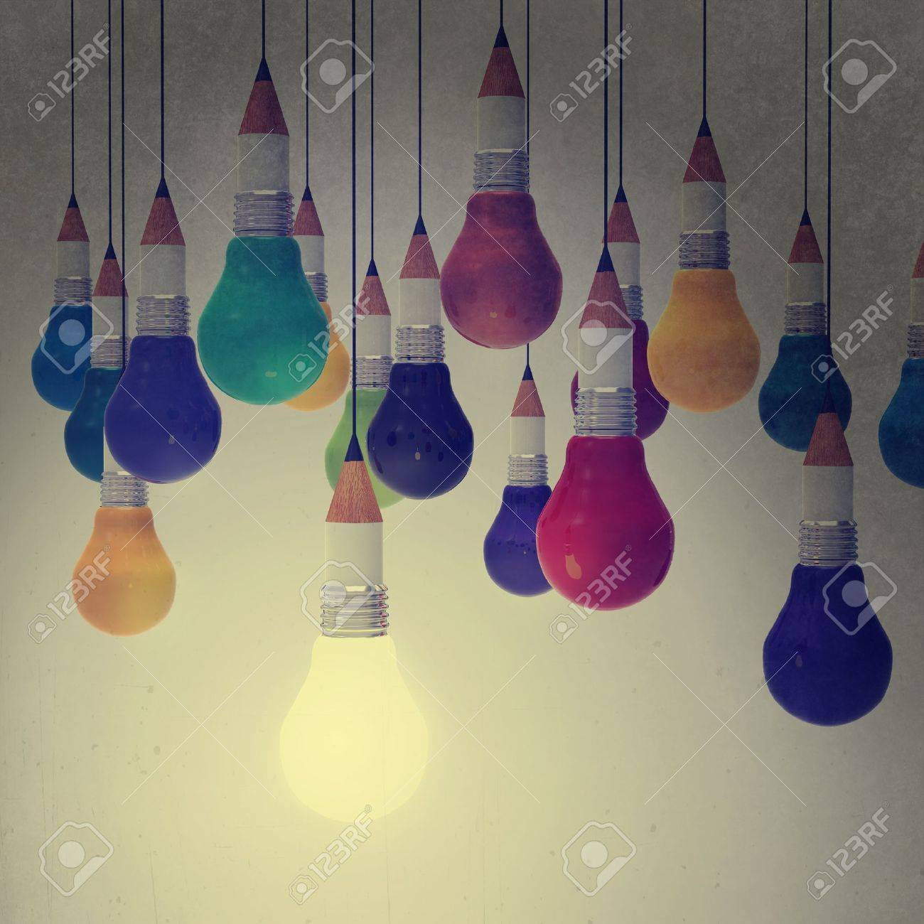 drawing idea pencil and light bulb concept creative and leadership as vintage style concept Stock Photo - 21271163
