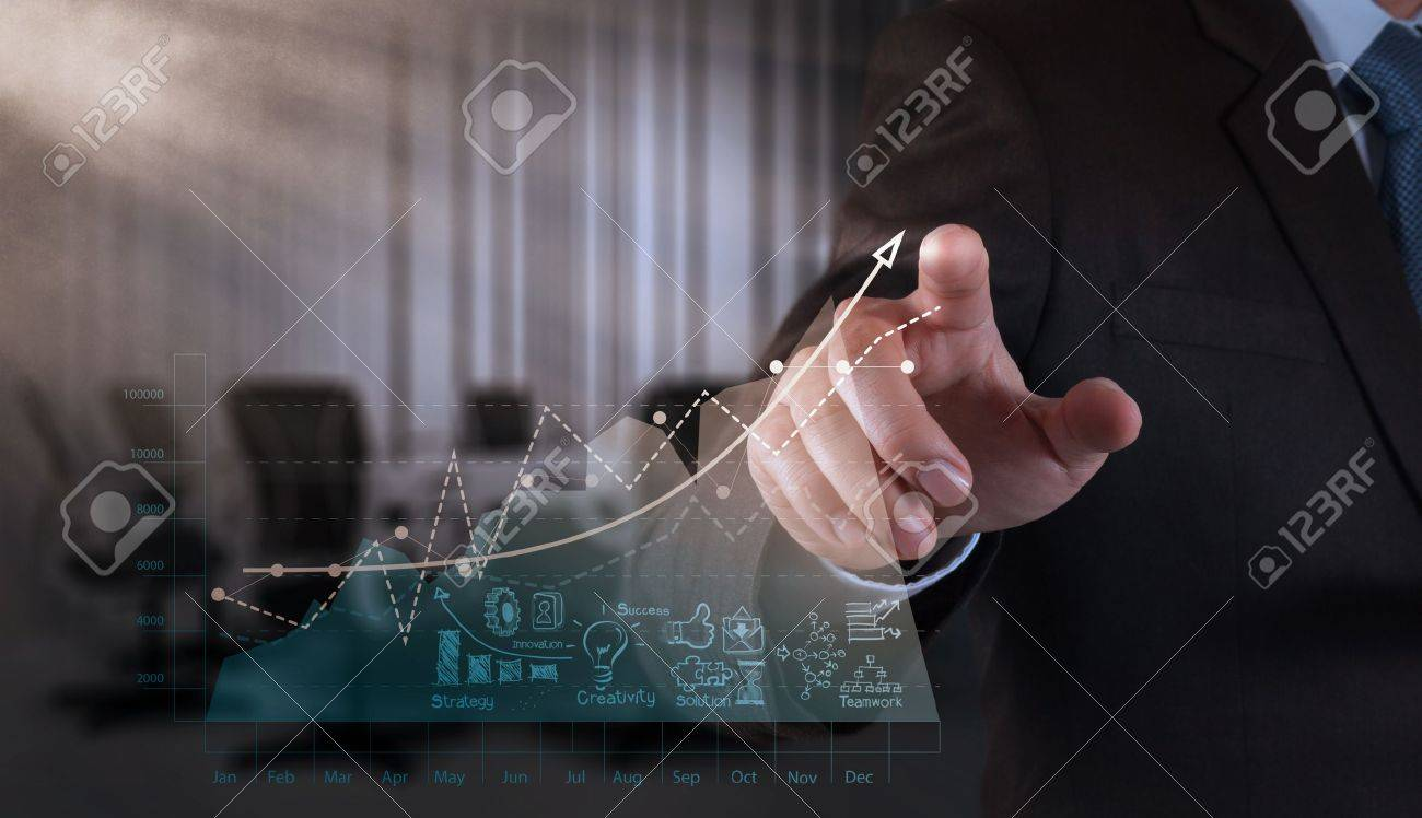 businessman hand working with new modern computer and business strategy as concept - 21271204