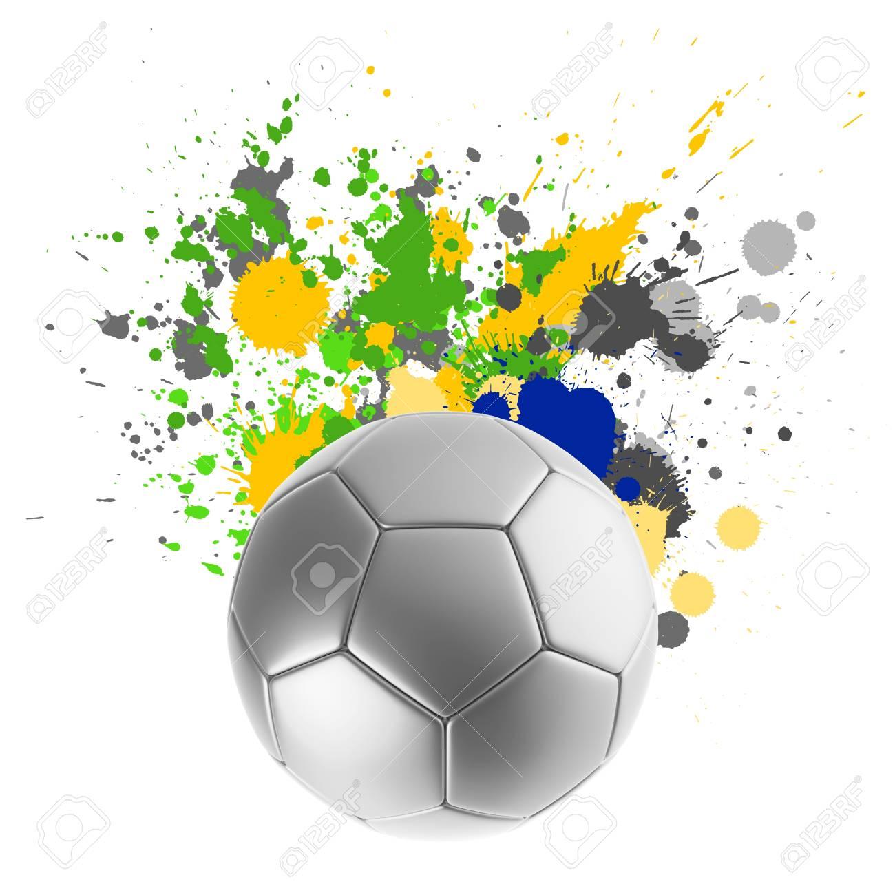 Fußball Mit Spritzwasser Farben Der Brasilianischen Flagge ...