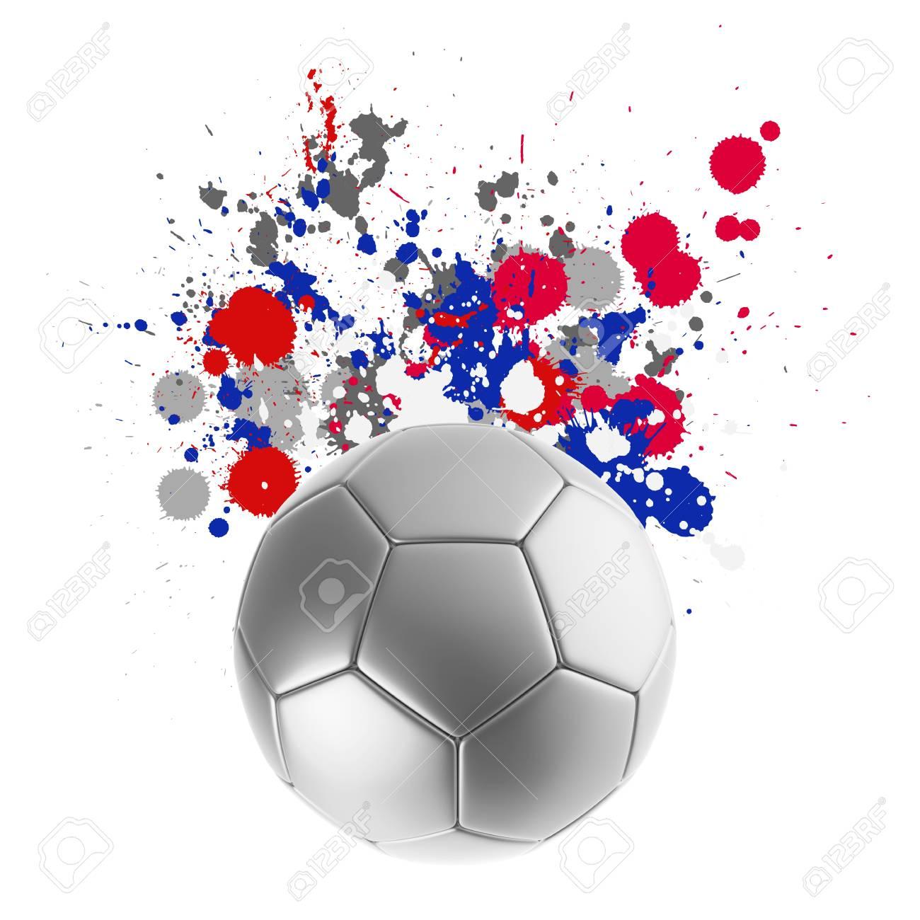 Foto de archivo - Representación 3D de un balón de fútbol con banderas de  colores salpicaduras de fondo 35fe9cdc7f0cc