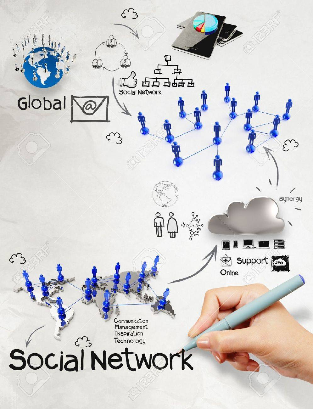 hand drawing  diagram of  social network structure as concept Stock Photo - 22006780