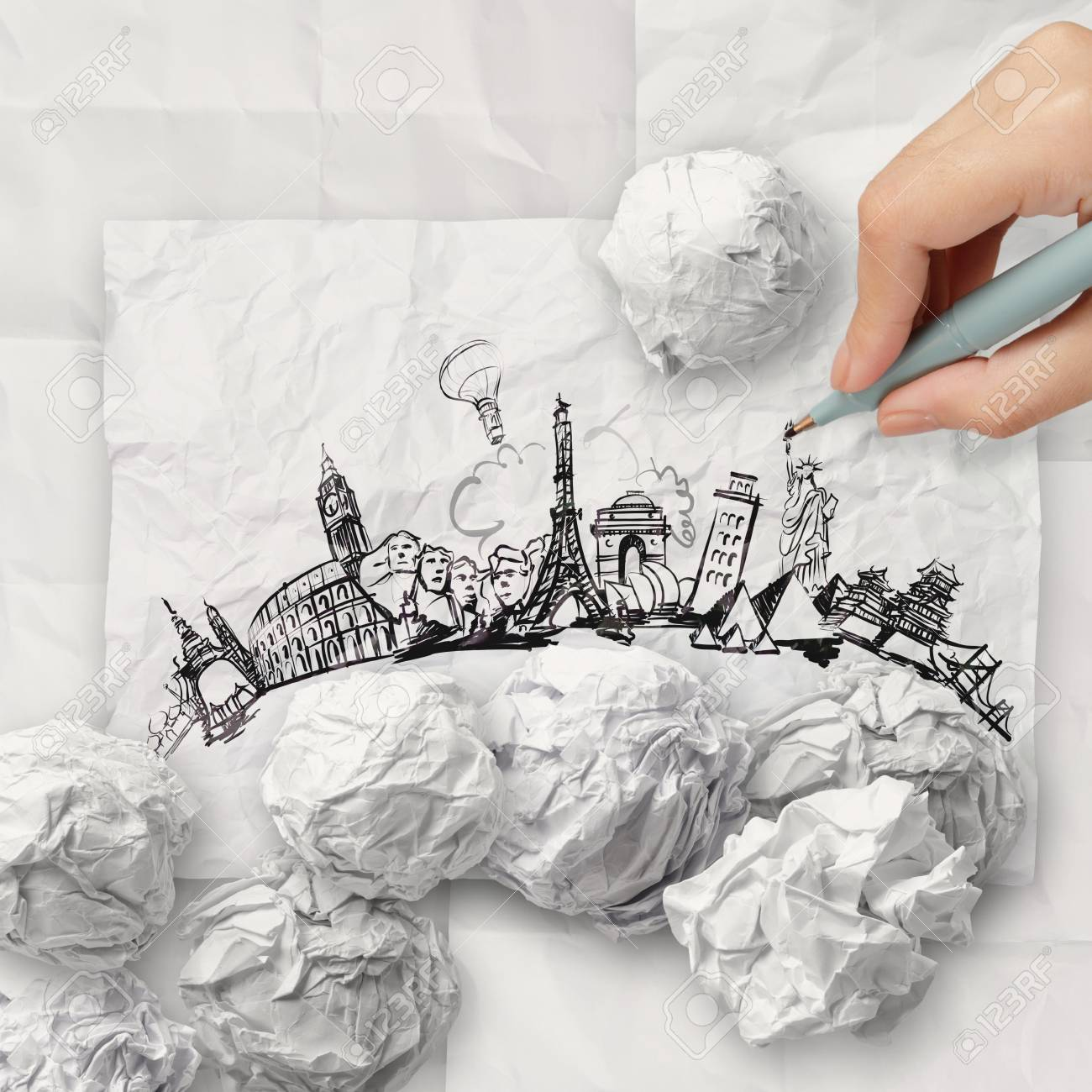 crumpled paper and traveling around the world as concept Stock Photo - 22006820