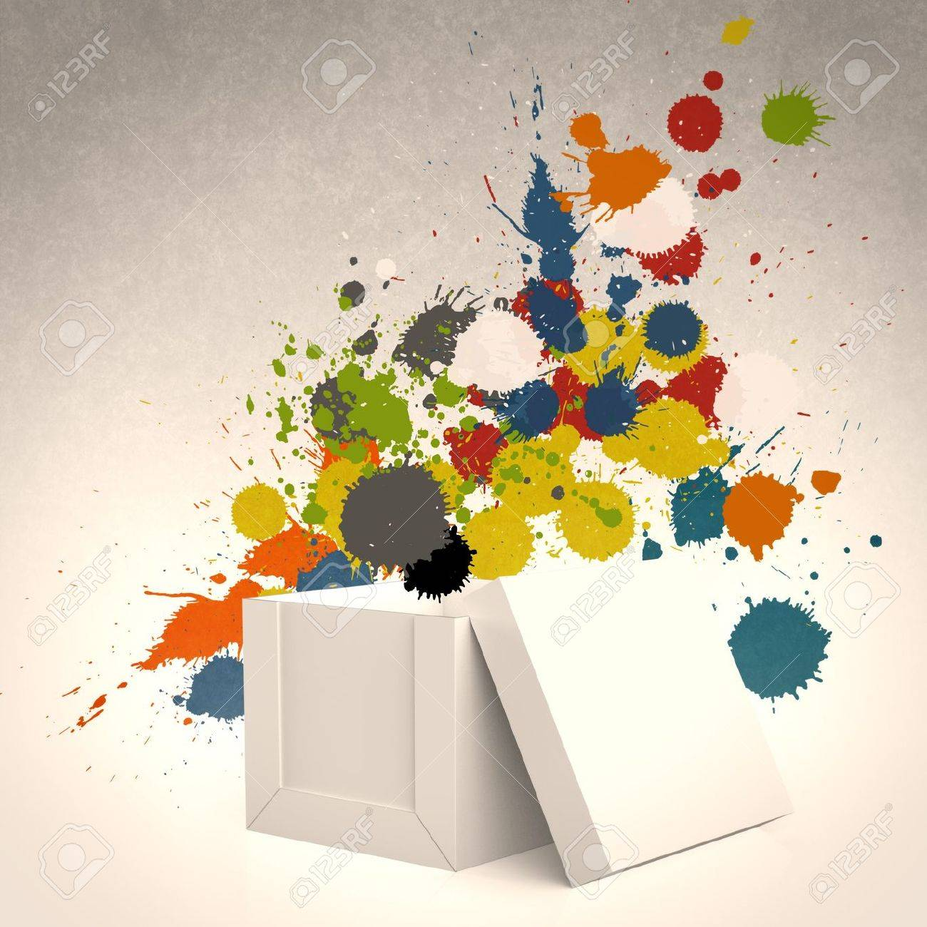 thinking outside the box and splash colors as concept Stock Photo - 22007971