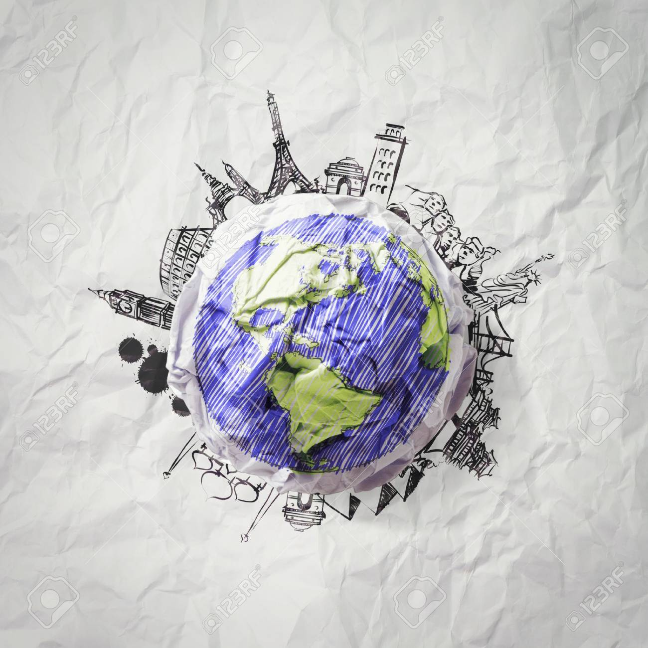 crumpled paper and traveling around the world as concept Stock Photo - 22007970
