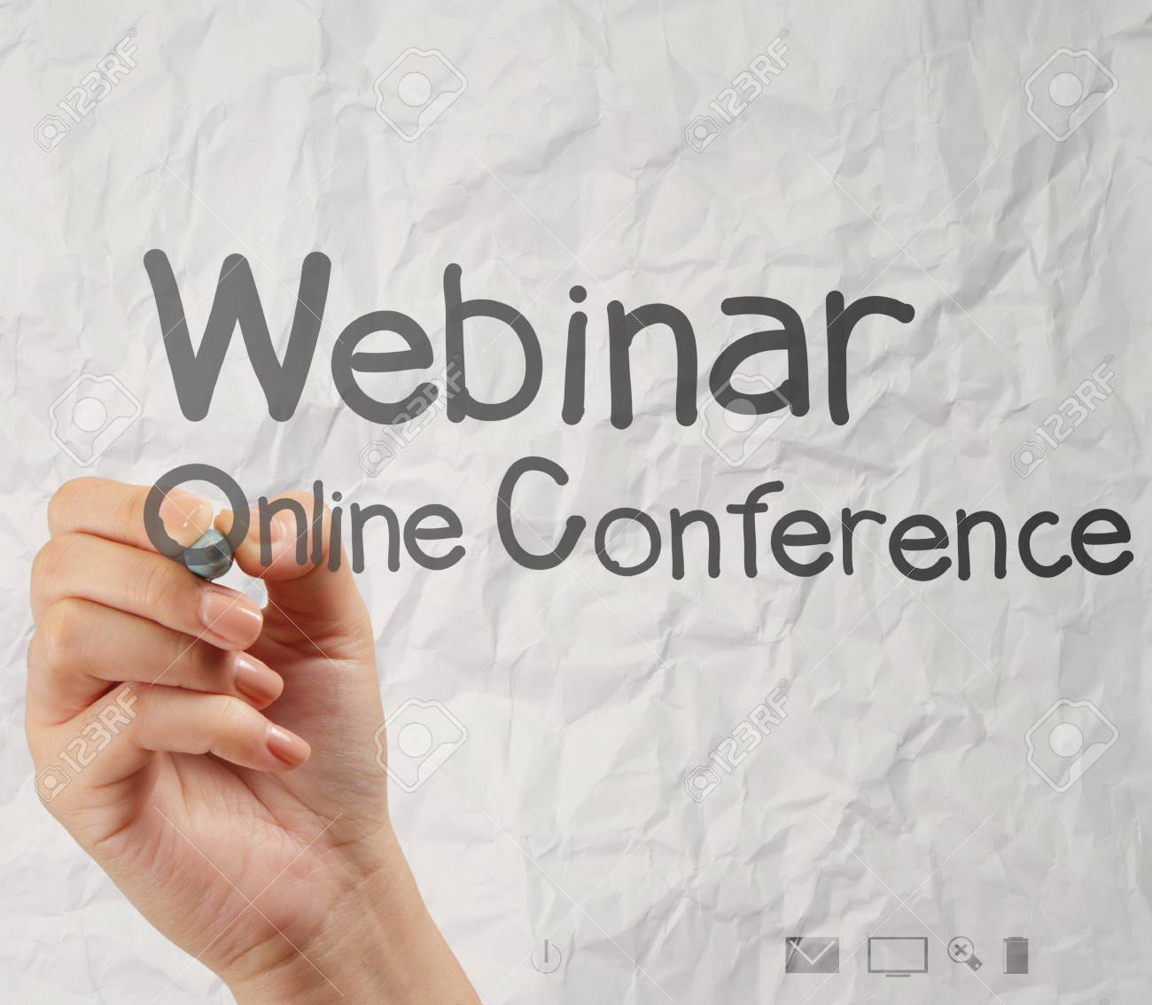 hand writing Webinar with crumpled paper background as concept Stock Photo - 22393396