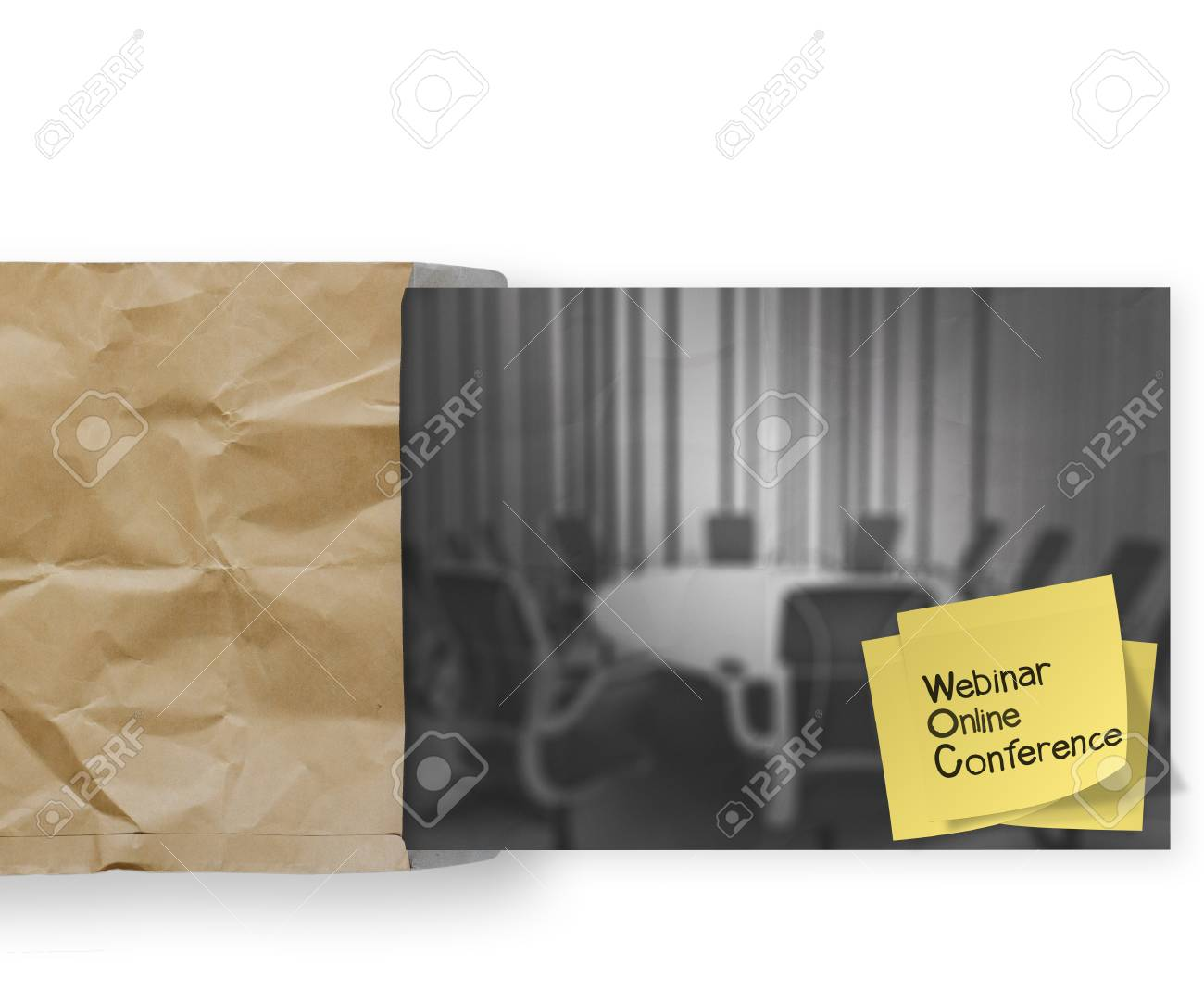 Webinar with sticky note on crumpled envelope paper background as concept Stock Photo - 22852572