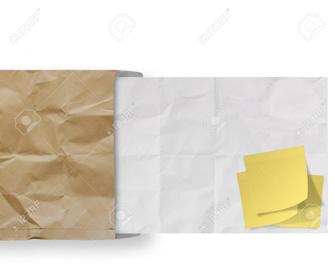 blank sticky note on recycle crumpled paper background texture in composition Stock Photo - 22852615