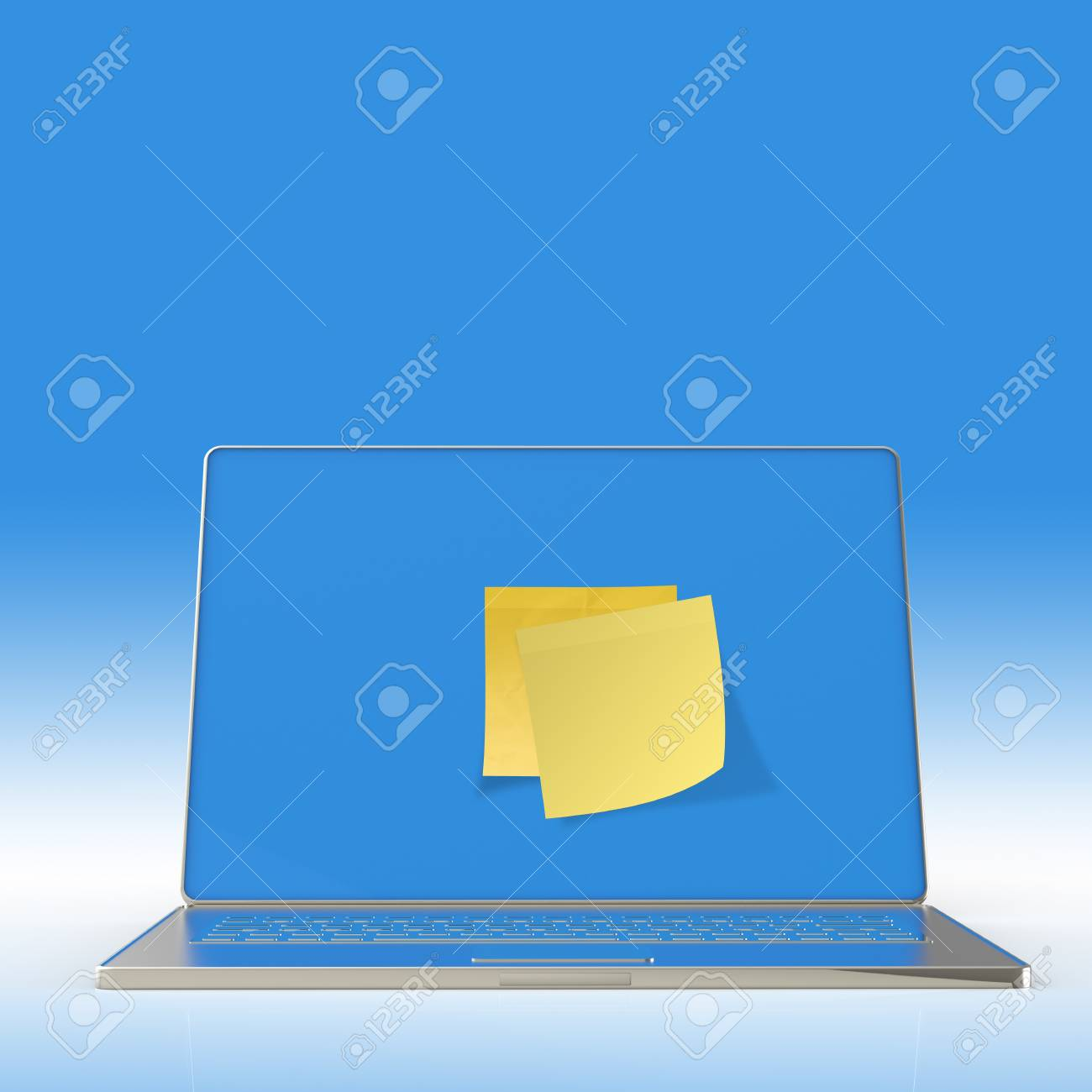 Yellow sticky note post on 3d laptop computer as concept Stock Photo - 22852699
