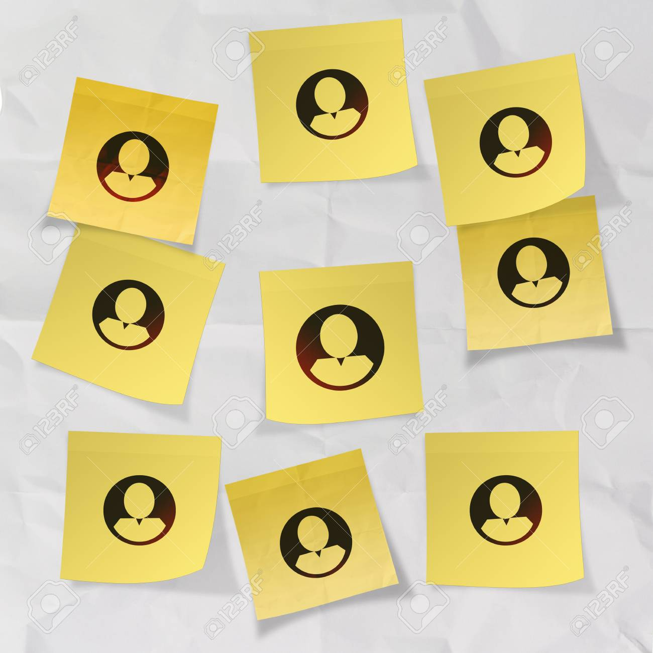 sticky note social network icon on crumpled paper background as concept Stock Photo - 22852871