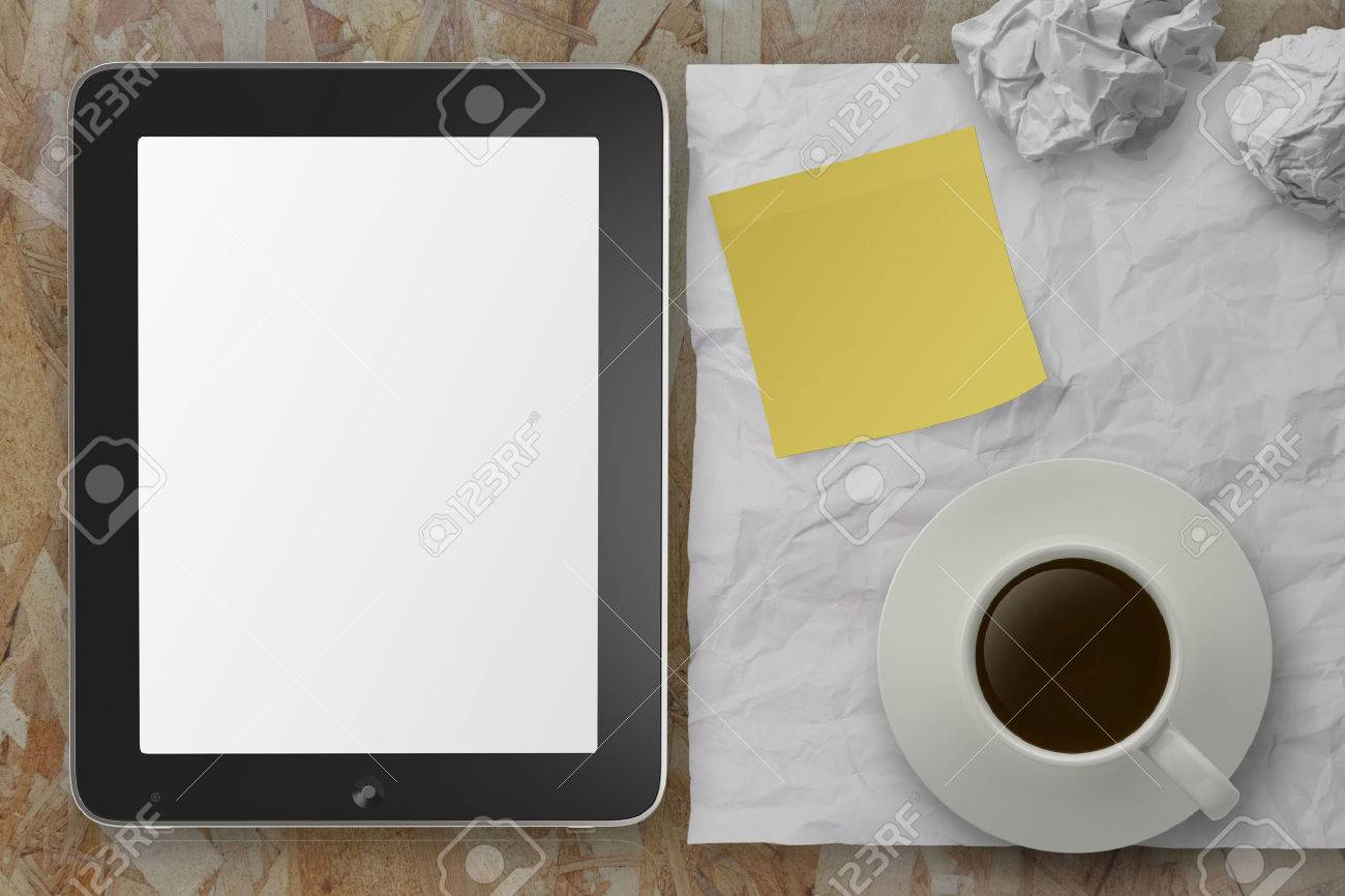 empty tablet pc and cup of coffee with stickly note on crumple paper as concept Stock Photo - 22852878