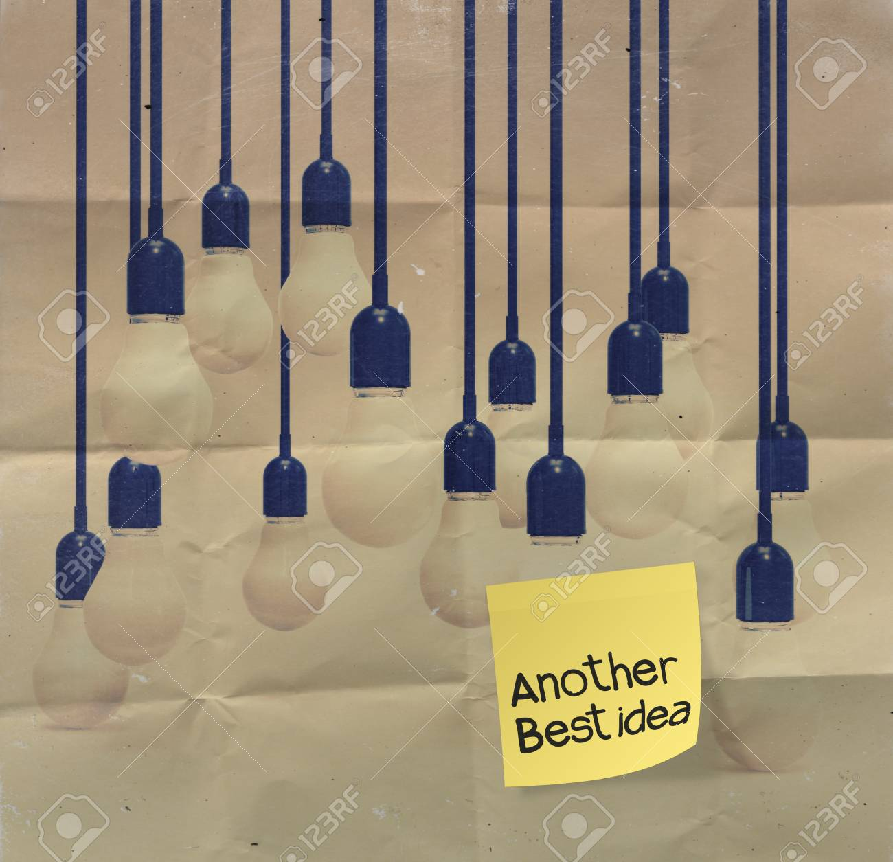 sticky note with another idea light bulb on crumpled paper as creative concept Stock Photo - 23401154