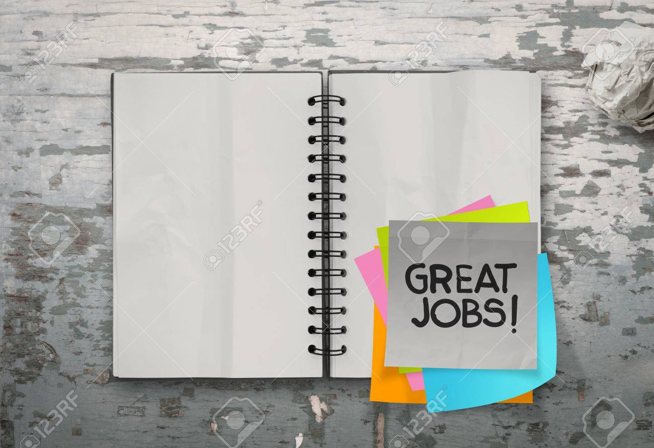 great job word sticky notes with open blank note book on desk top texture Stock Photo - 23401654