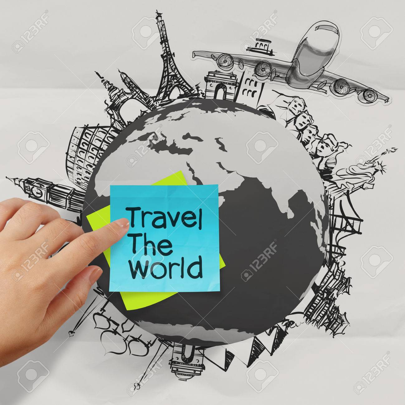 crumpled paper and hand drawn traveling around the world as vintage style concept Stock Photo - 23401656