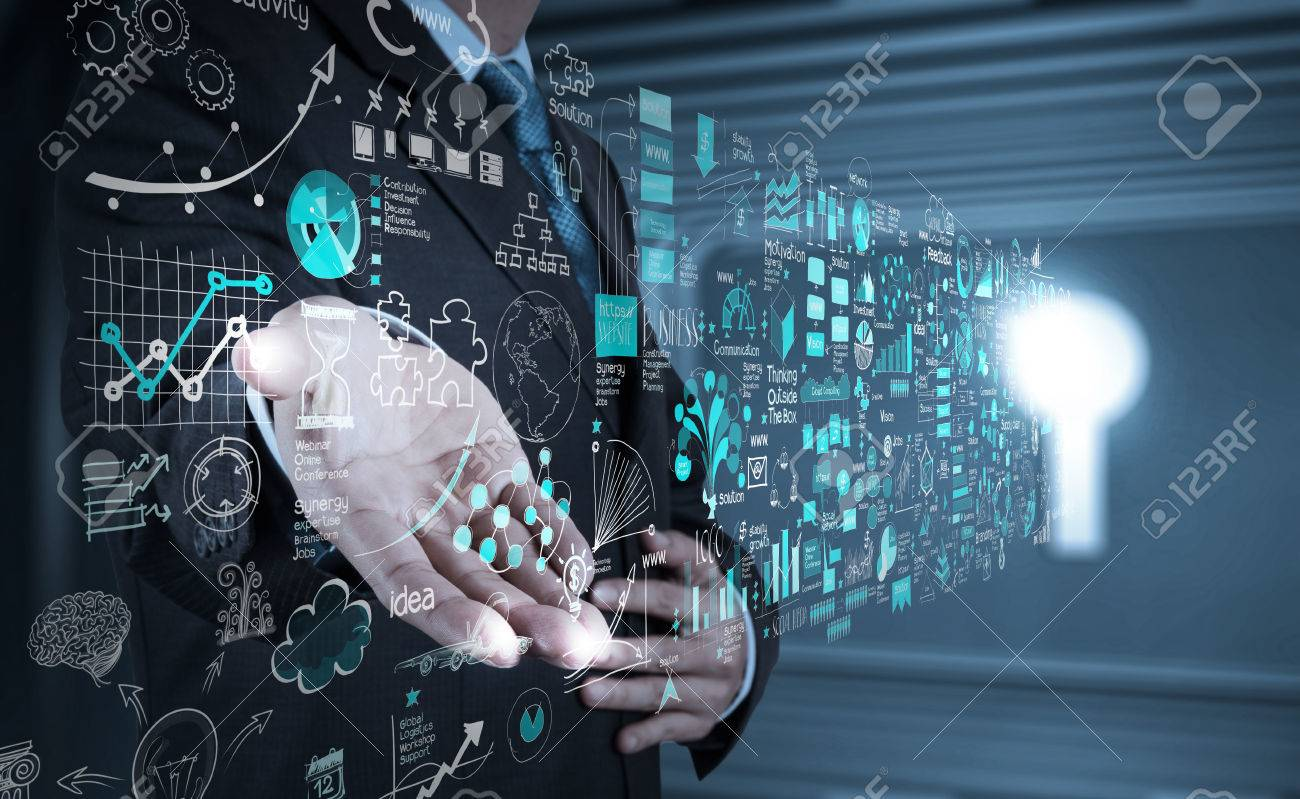 businessman hand working with new modern computer and business strategy as concept - 25265178