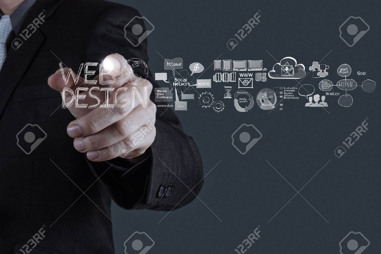 businessman hand  working with  web design diagram as concept Stock Photo - 25265292