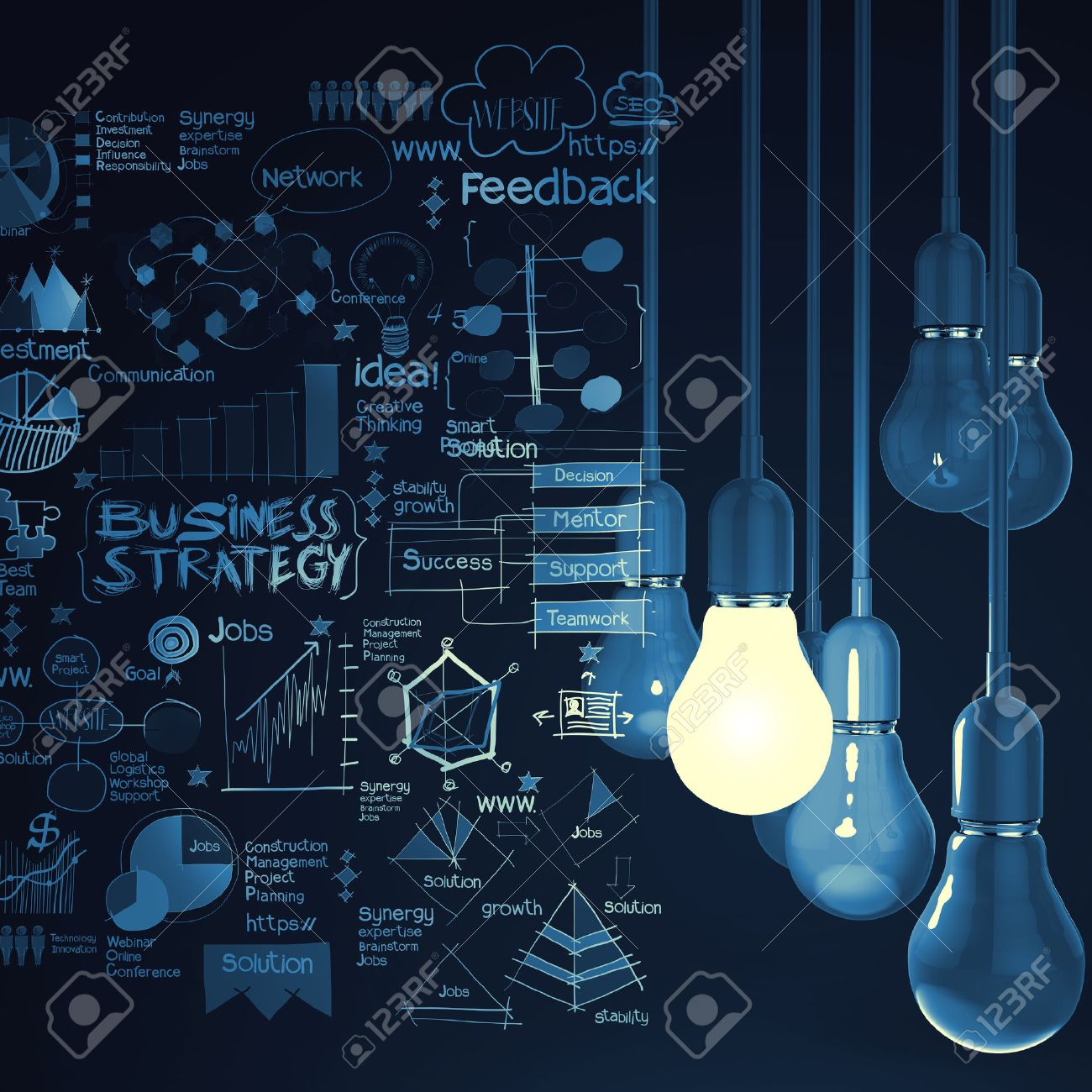 Light Bulb 3d On Business Strategy Background As Concept Stock Photo    25265771