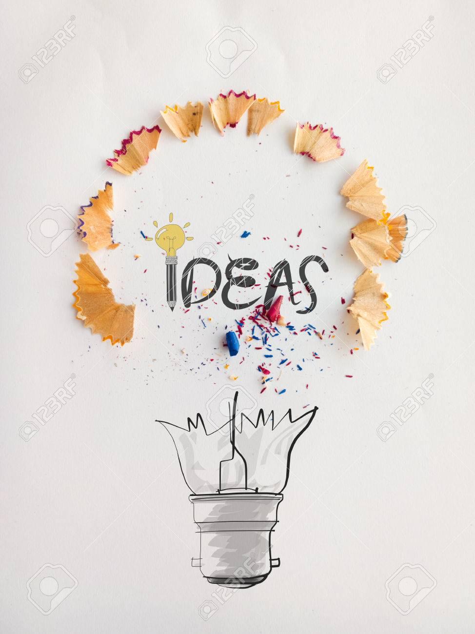 Hand Gezeichnete Glühbirne Wort-Design IDEA Mit Bleistift Auf Papier ...