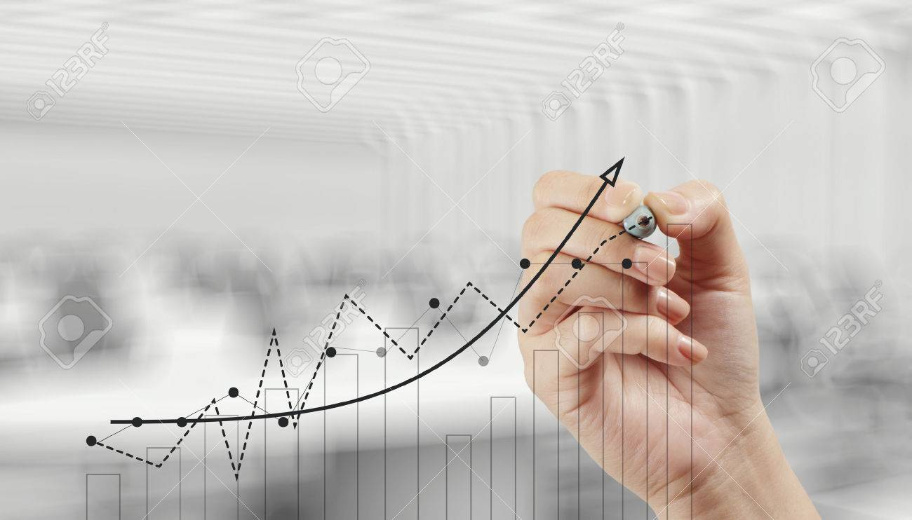 hand drawing graph chart and business strategy as concept - 28742536
