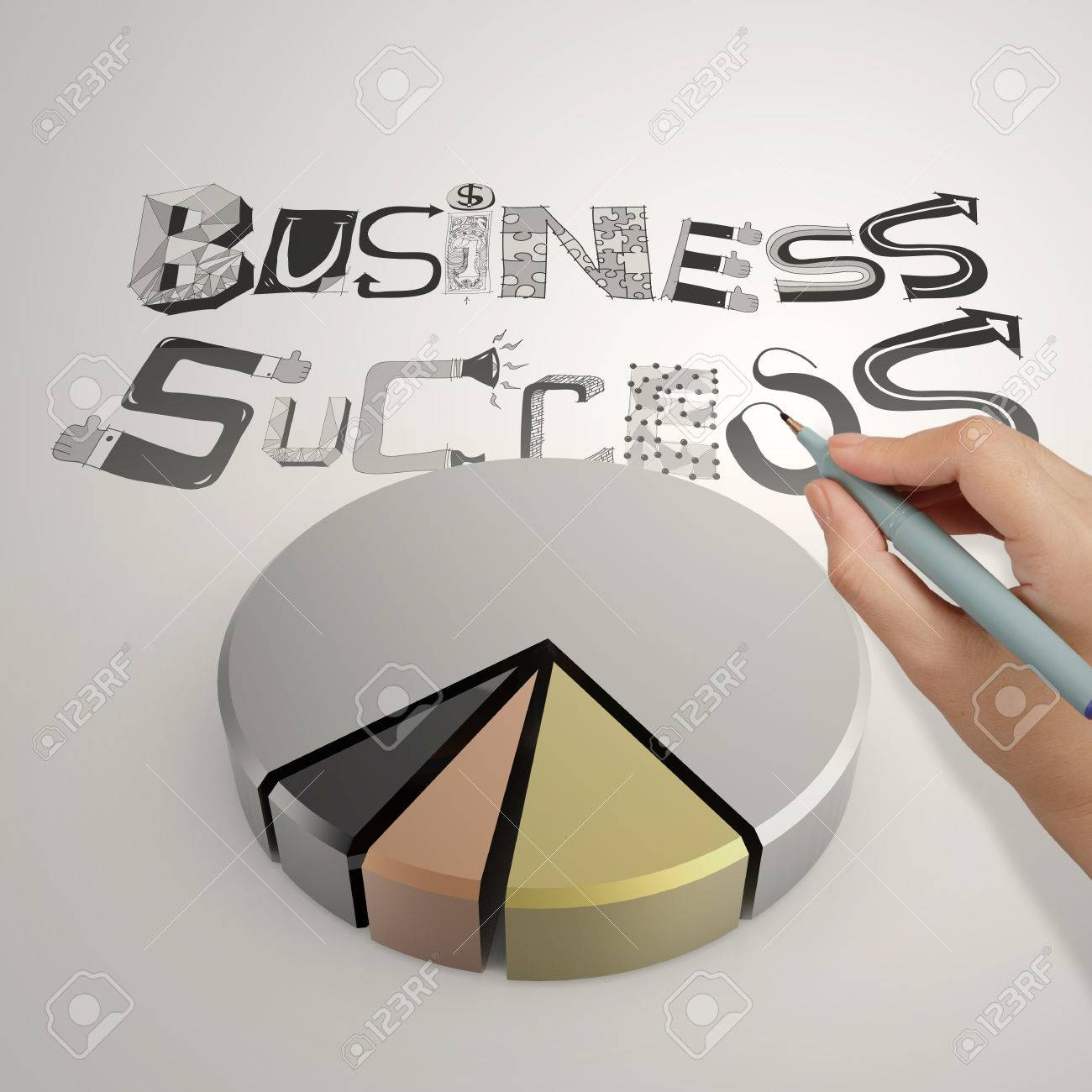 Hand drawing 3d pie char with hand drawn graphic word business success as concept stock photo
