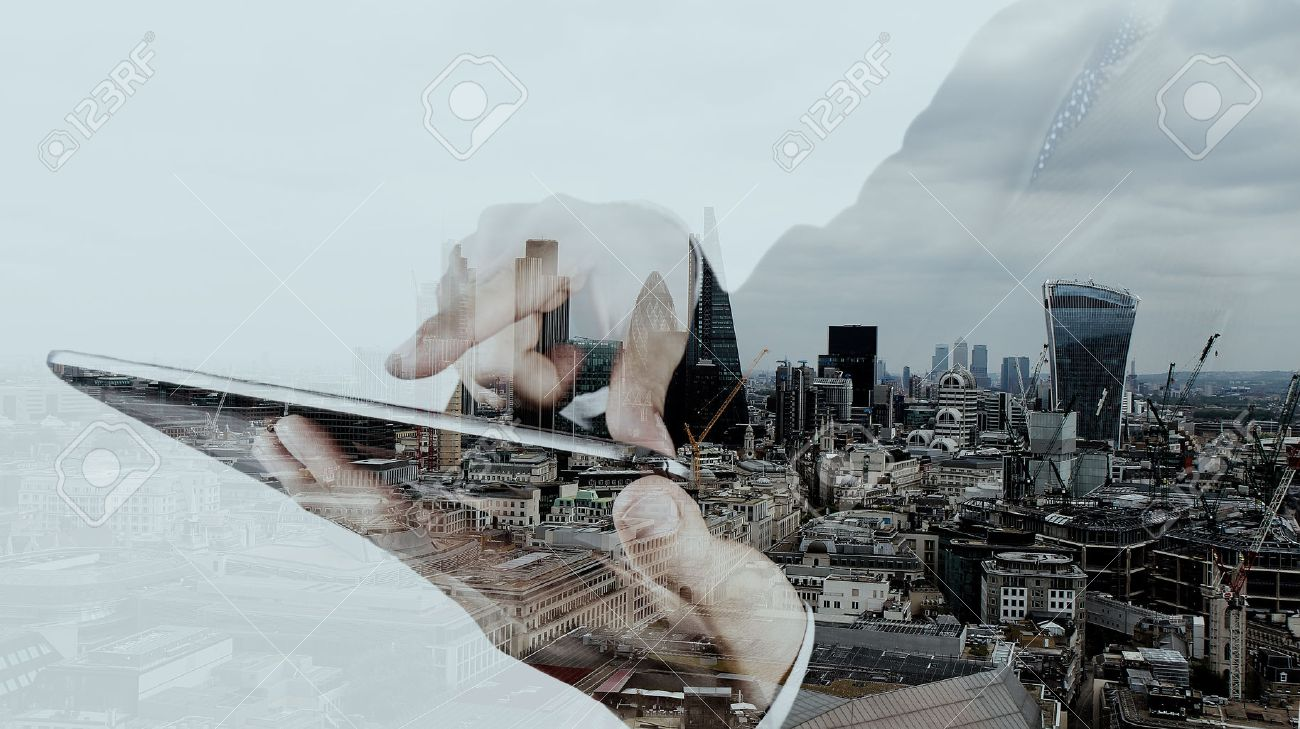 Double exposure of businessman working with new modern computer and london city background as concept - 42124524