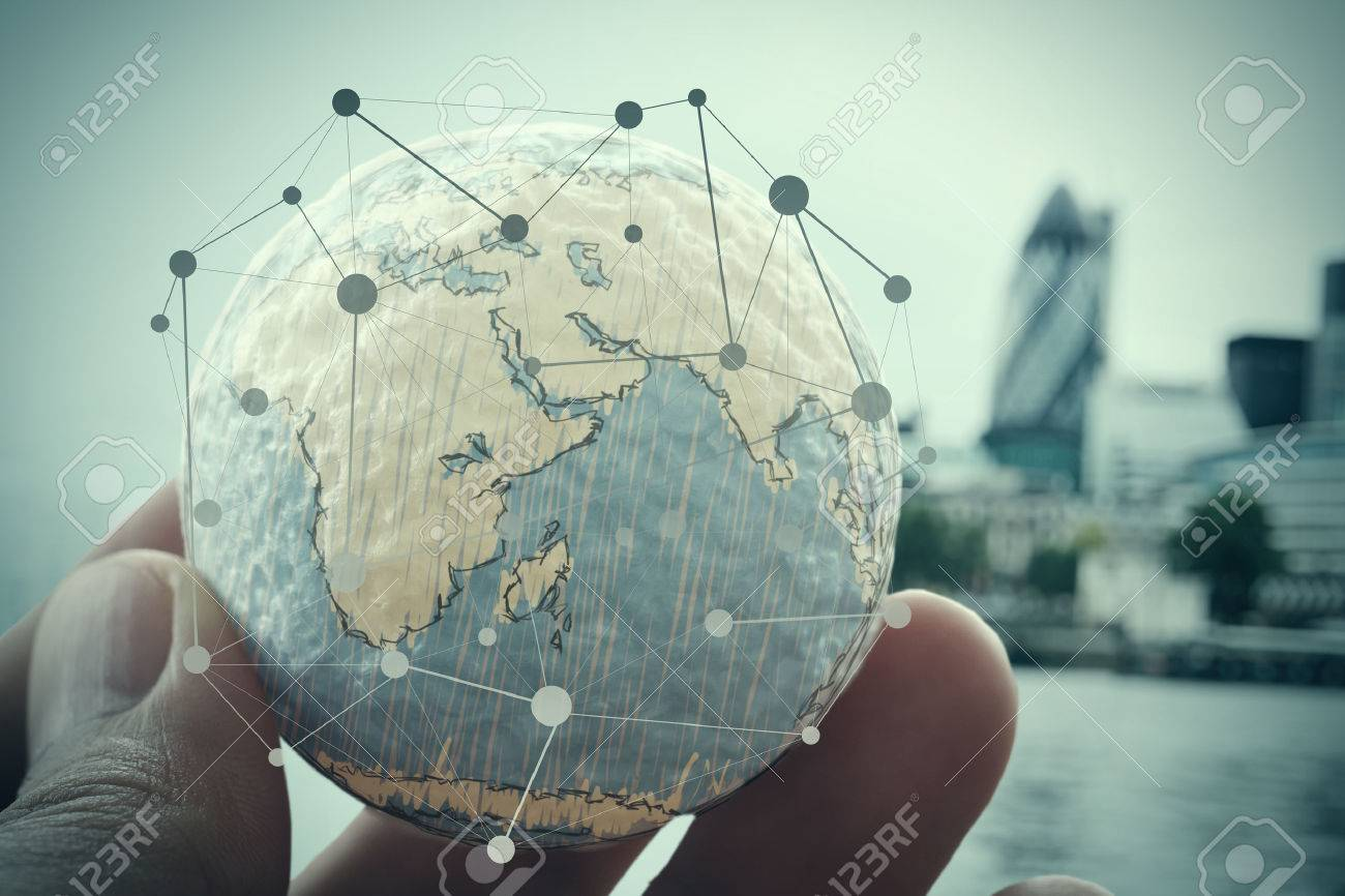 close up of businessman hand showing texture the world with digital social media network diagram concept Stock Photo - 43296986