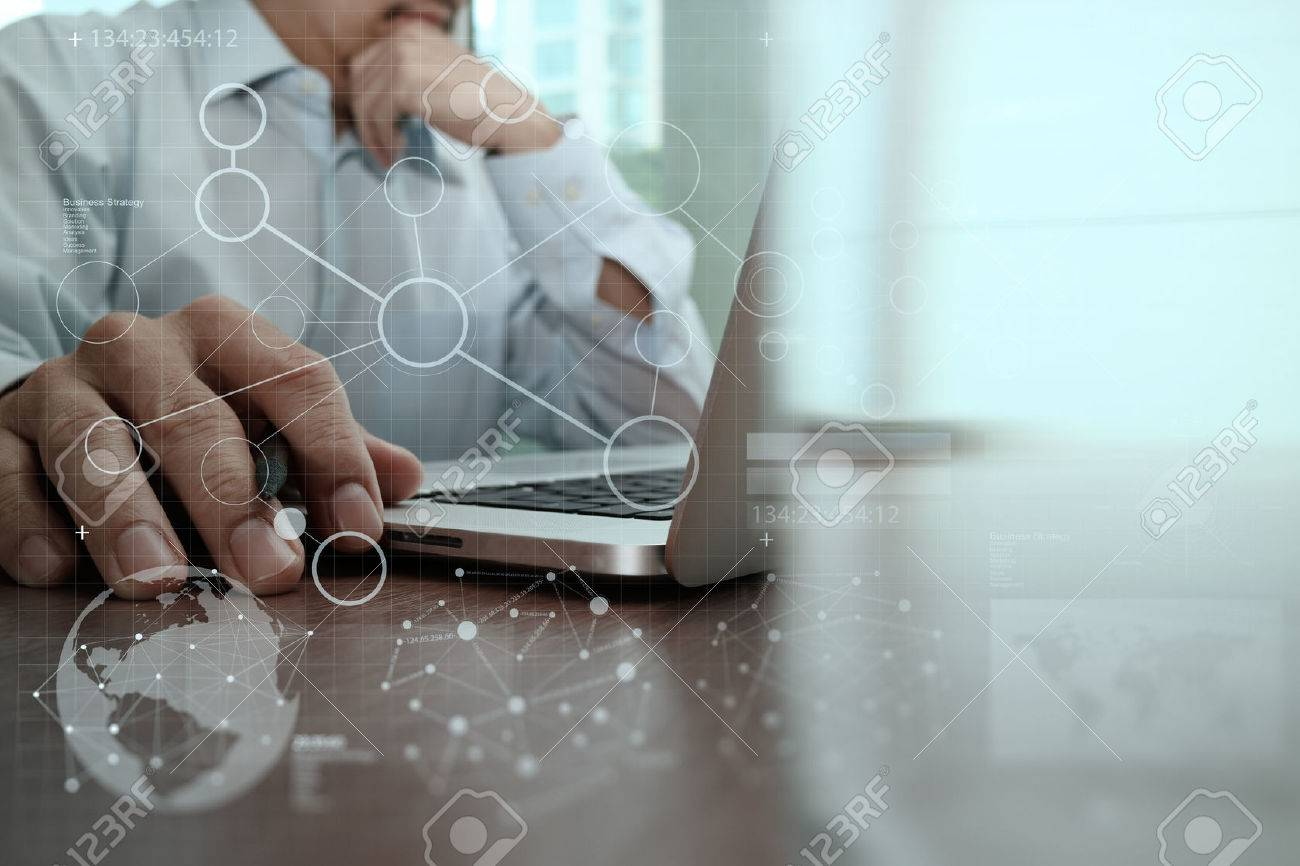 businessman hand working with modern technology and digital layer effect as business strategy concept Stock Photo - 47329093