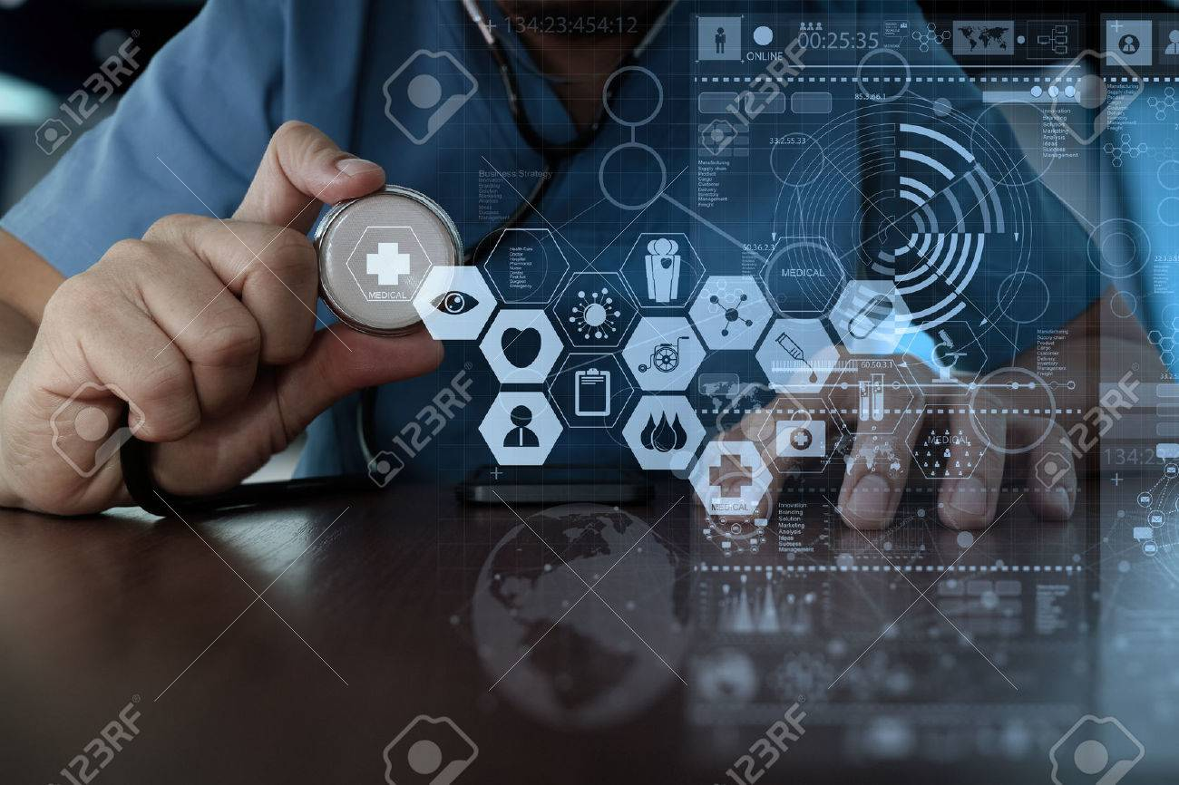 Medicine doctor hand working with modern computer interface as medical network concept Stock Photo - 47329225