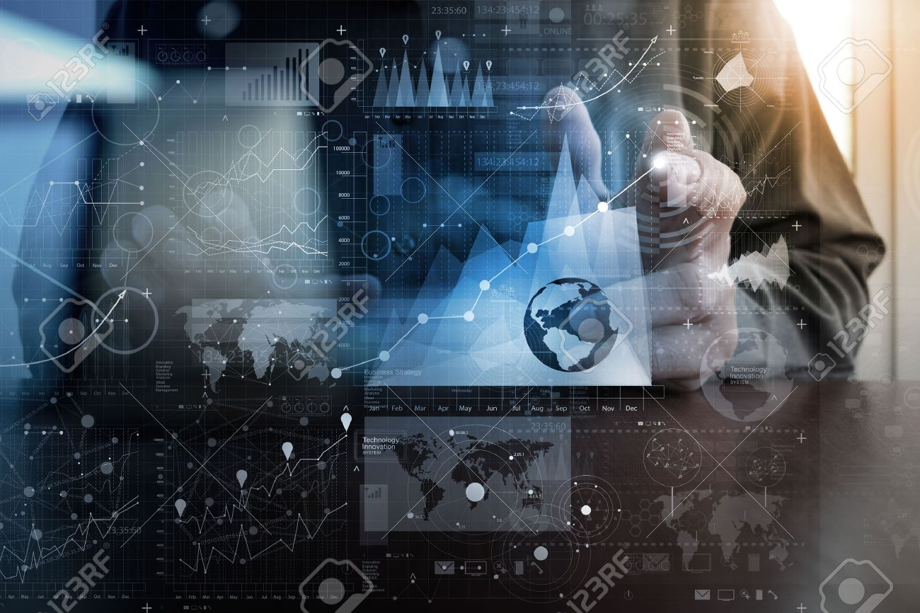 businessman hand working with modern technology and digital layer effect as business strategy concept Stock Photo - 47329610