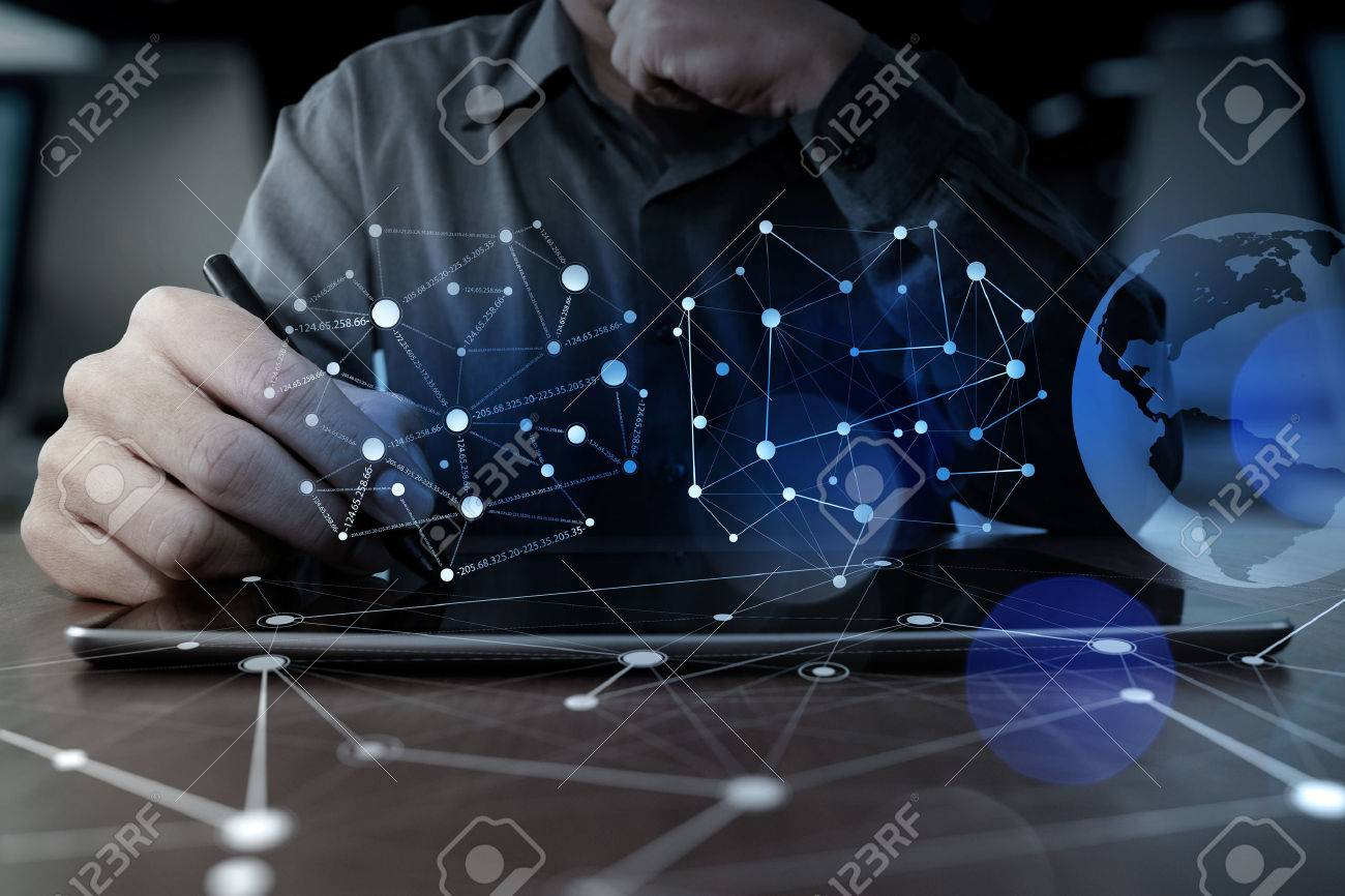 businessman hand working with modern technology digital tablet computer and digital layer effect as business strategy concept Stock Photo - 47333967