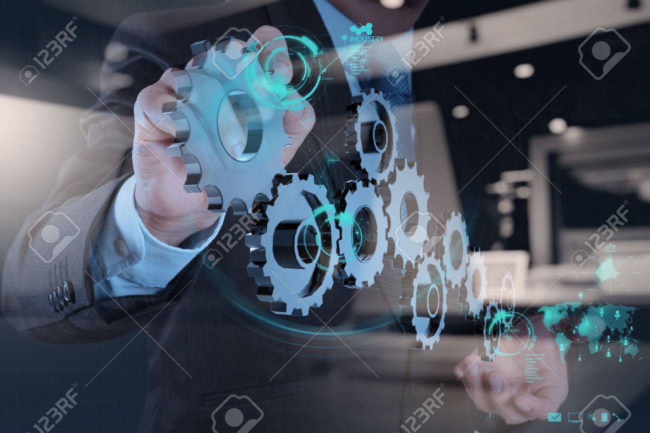 double exposure of businessman hand working with cog gear to success as concept - 50065829