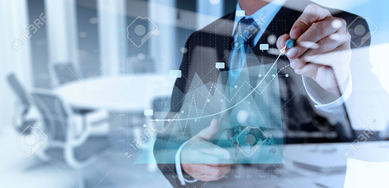 double exposure of businessman hand working with new modern computer and business strategy as concept - 50066627