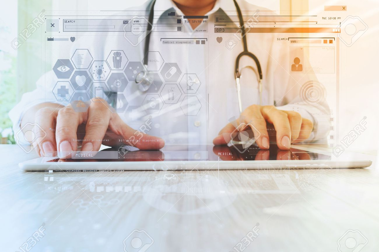 Medicine doctor hand working with modern digital tablet with computer interface as medical network concept Standard-Bild - 51496636
