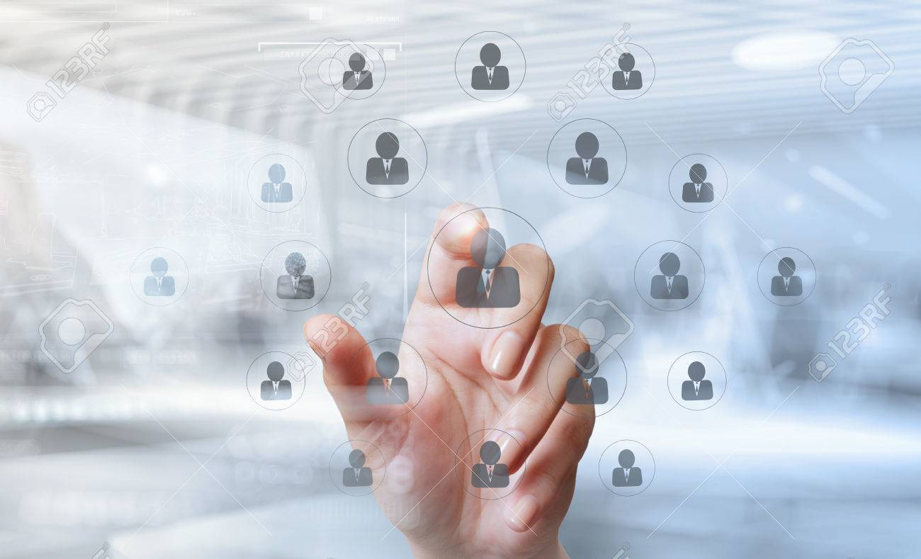 double exposure of businessman hand points the human resources, CRM and social media diagram as concept - 53608404