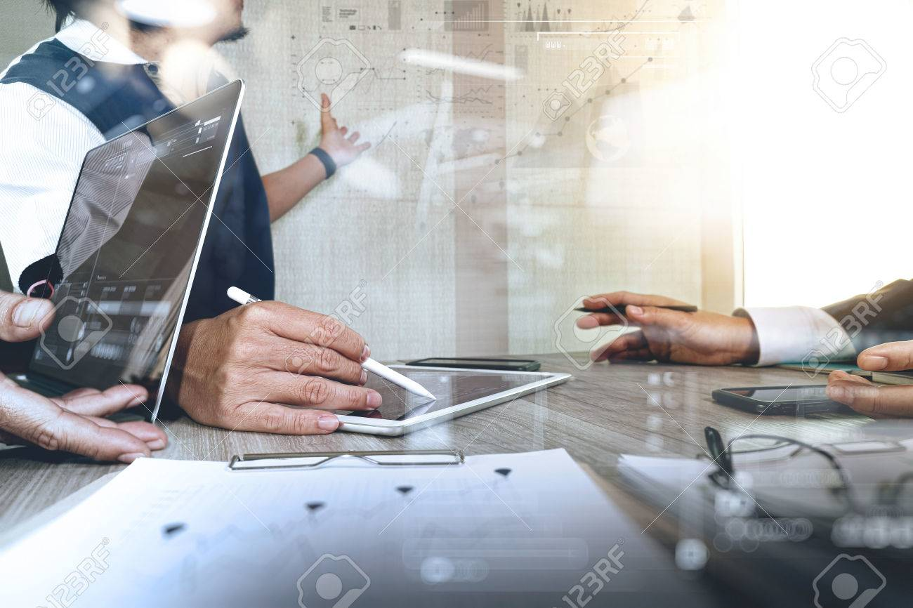 Businessman making presentation with his colleagues and business strategy digital layer effect at the office as concept - 55730522