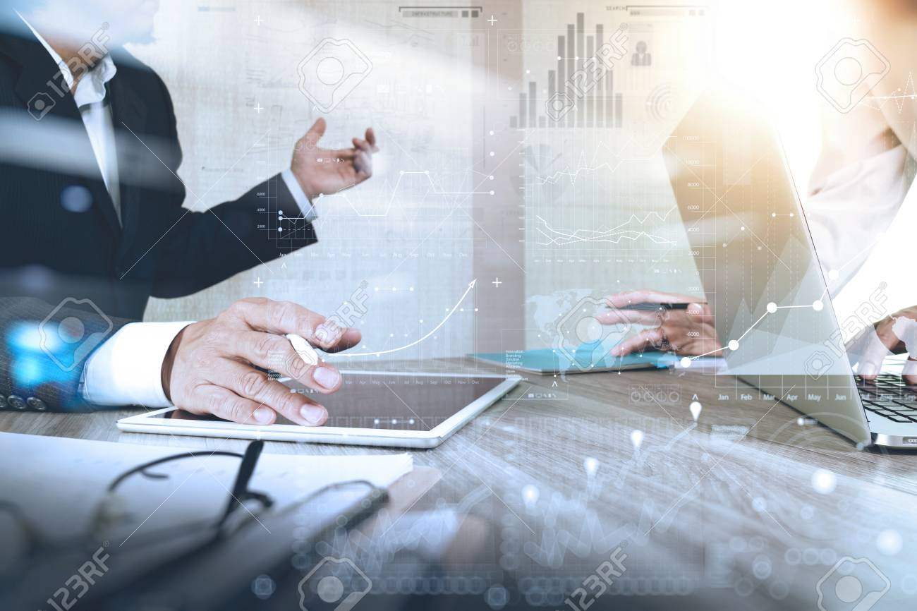 Businessman making presentation with his colleagues and business strategy digital layer effect at the office as concept - 55730520