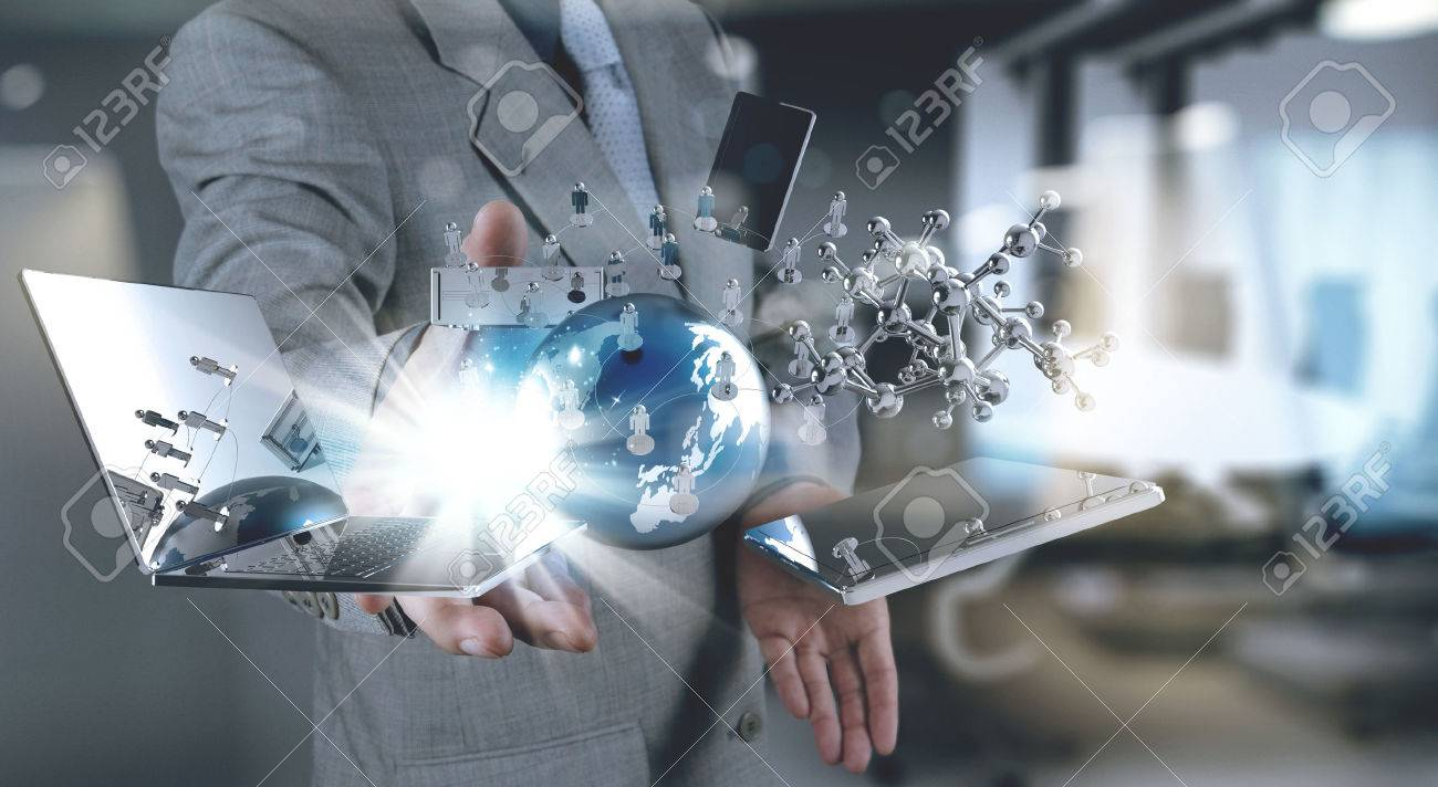 businessman hand working with modern technology and digital layer effect as business strategy concept Standard-Bild - 55730336