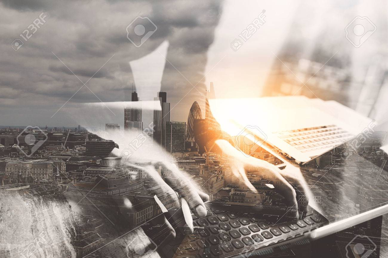 Double exposure,Website designer working digital tablet dock keyboard and computer laptop with smart phone and graphics design diagram - 64893164