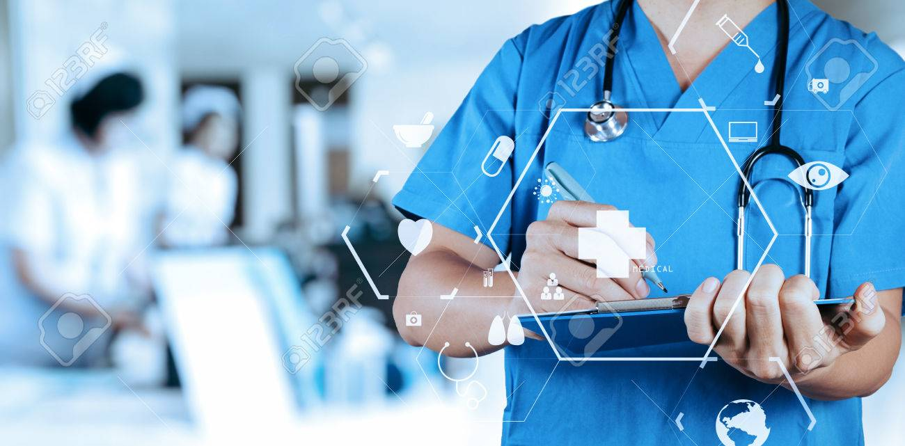 Smart medical doctor writing nformation patient medical on a clipboard at the hospital with VR icon diagram - 76802480