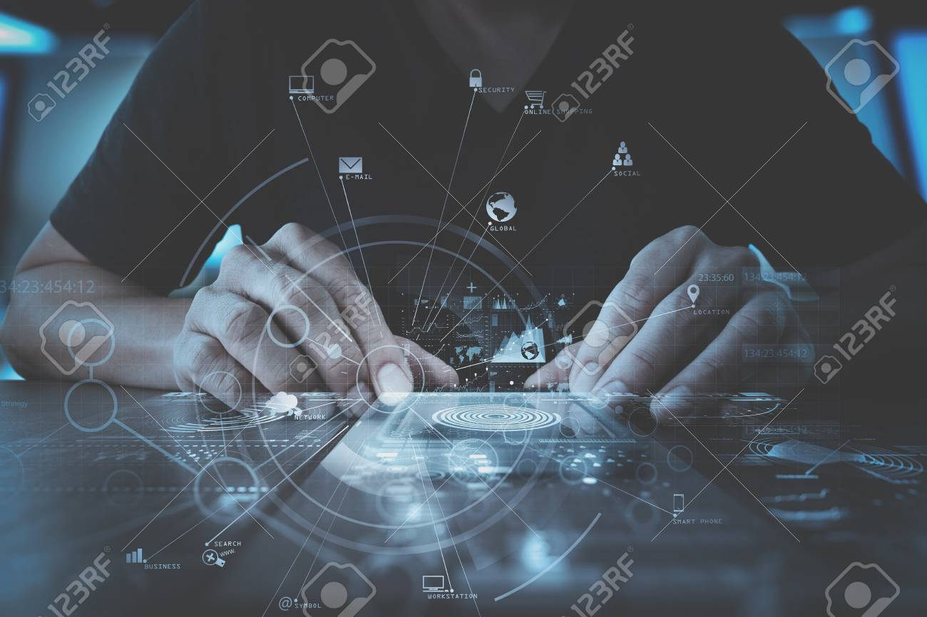 businessman hand working with modern smartphone computer in modern office with virtual icon diagram - 78272165