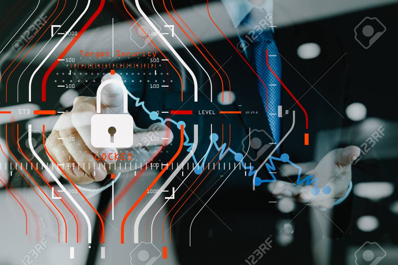 General Data Protection Regulation (GDPR) and Security concept.Computer Halogram target protection locked with success on business finance working and technology. - 94511018