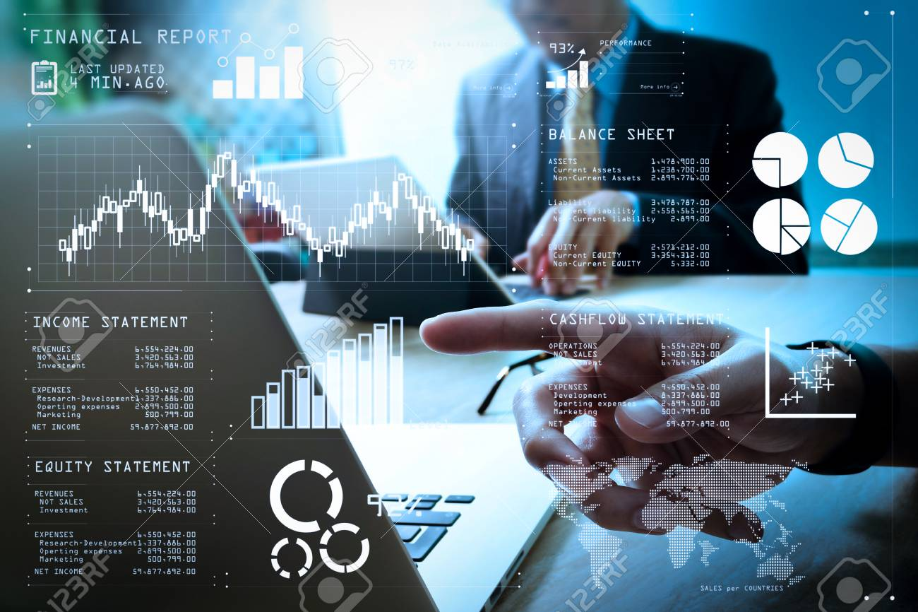 Financial report data of business operations (balance sheet and income statement and diagram) as Fintech concept.Business team meeting present. professional investor working new startup project. - 101183125