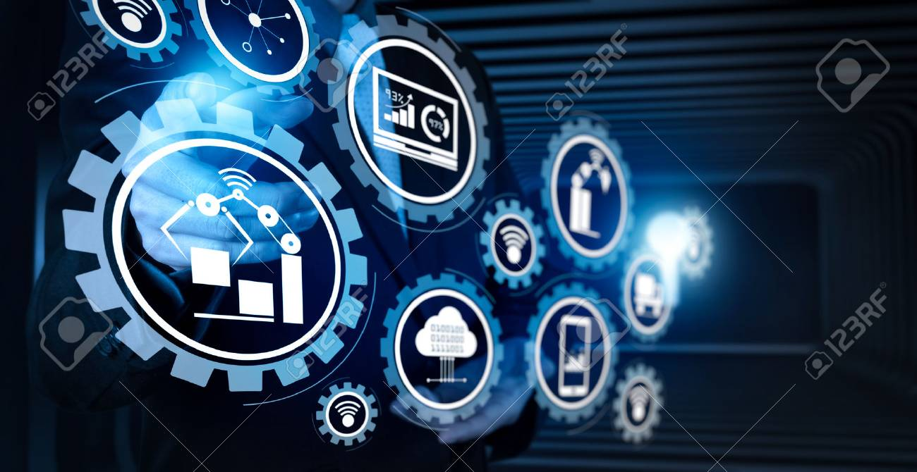 Smart factory and industry 4.0 and connected production robots exchanging data with internet of things (IoT) with cloud computing technology. - 101656863