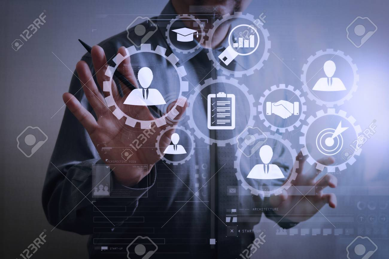 Human resources management with recruitment business working concept. HR manager is selecting candidate for hiring with virtual screen computer. - 101659663