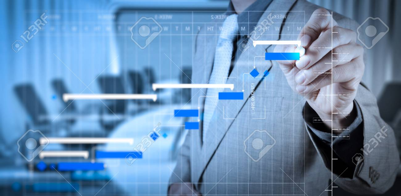 Project manager working and update tasks with milestones progress planning and Gantt chart scheduling diagram. - 101659674