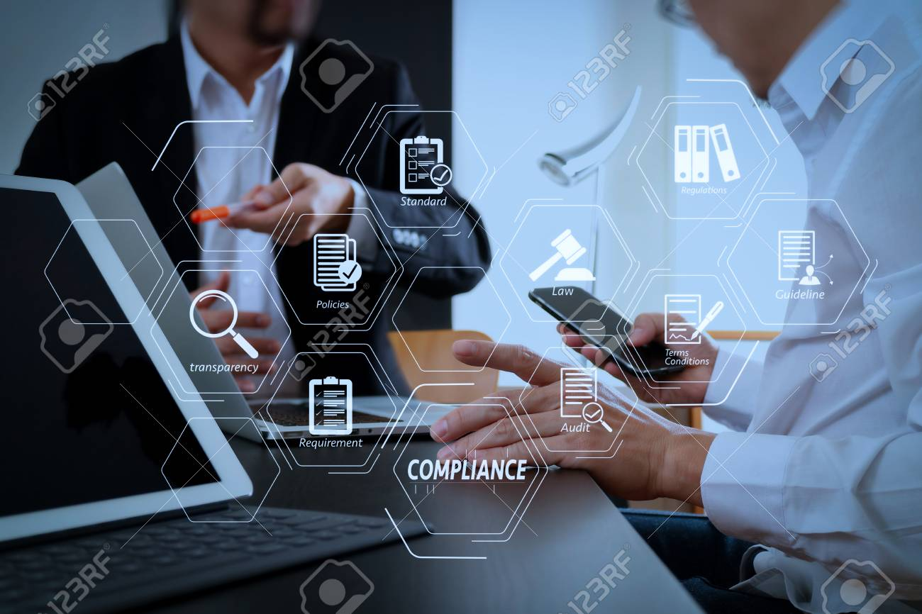 Compliance Virtual Diagram for regulations, law, standards, requirements and audit.co working team meeting concept,businessman using smart phone and digital tablet and laptop computer in modern office - 102387664