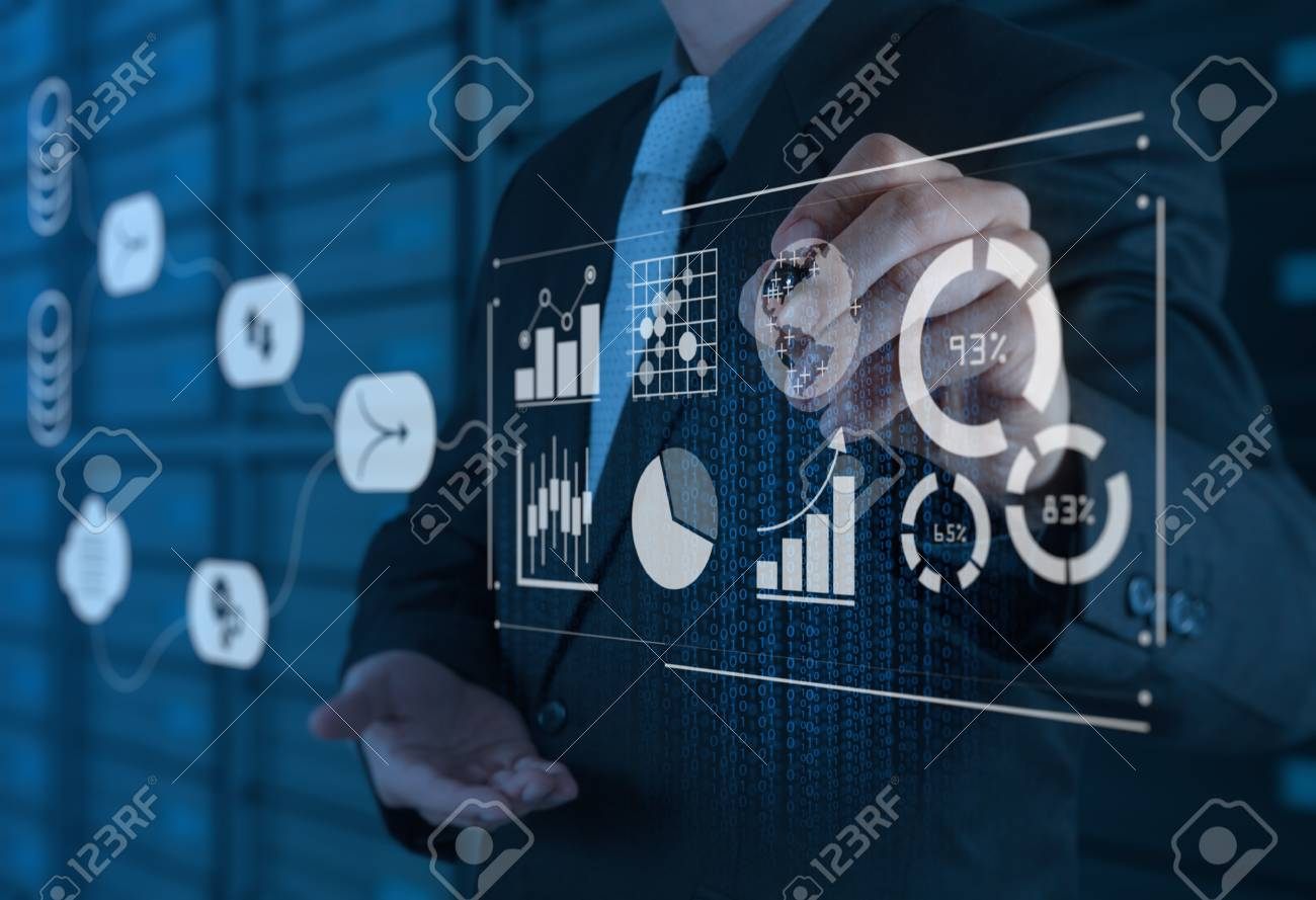 Data Management System (DMS) with Business Analytics concept. businessman working with provide information for Key Performance Indicators (KPI) and marketing analysis onn virtual computer - 102367233