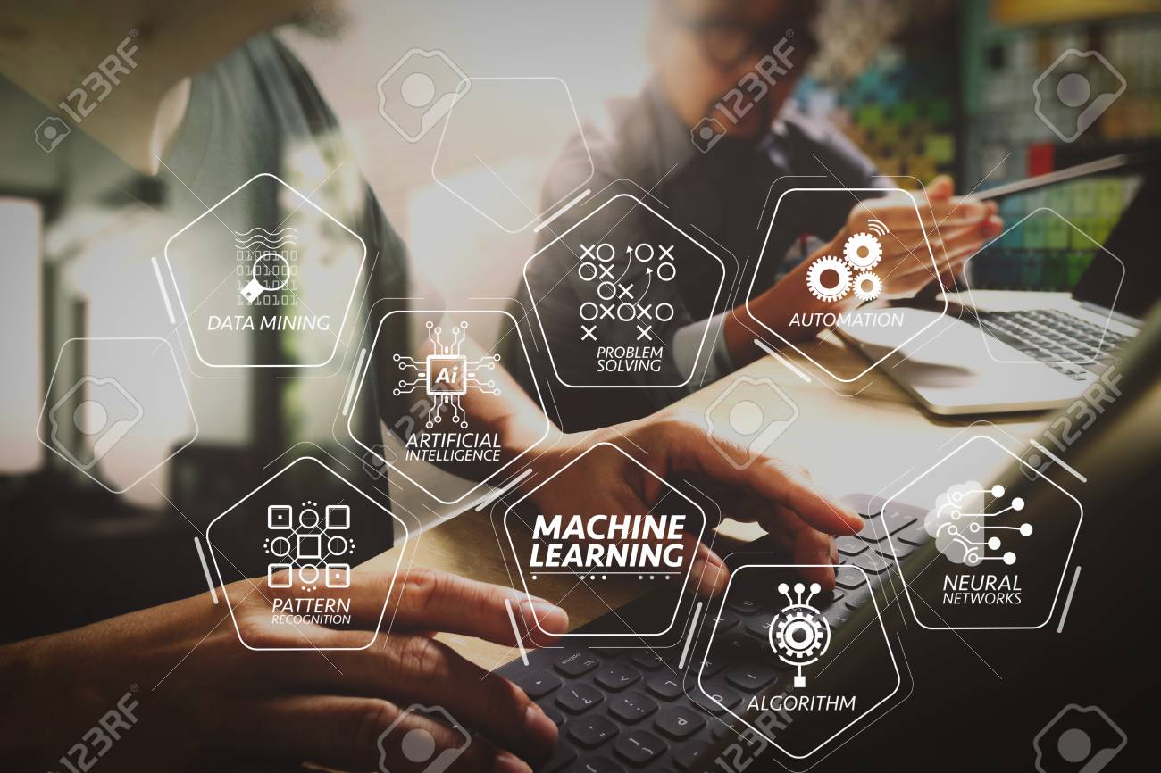 Machine learning technology diagram with artificial intelligence (AI),neural network,automation,data mining in VR screen.Coworking process, entrepreneur team working in creative office space using digital tablet. - 104370280