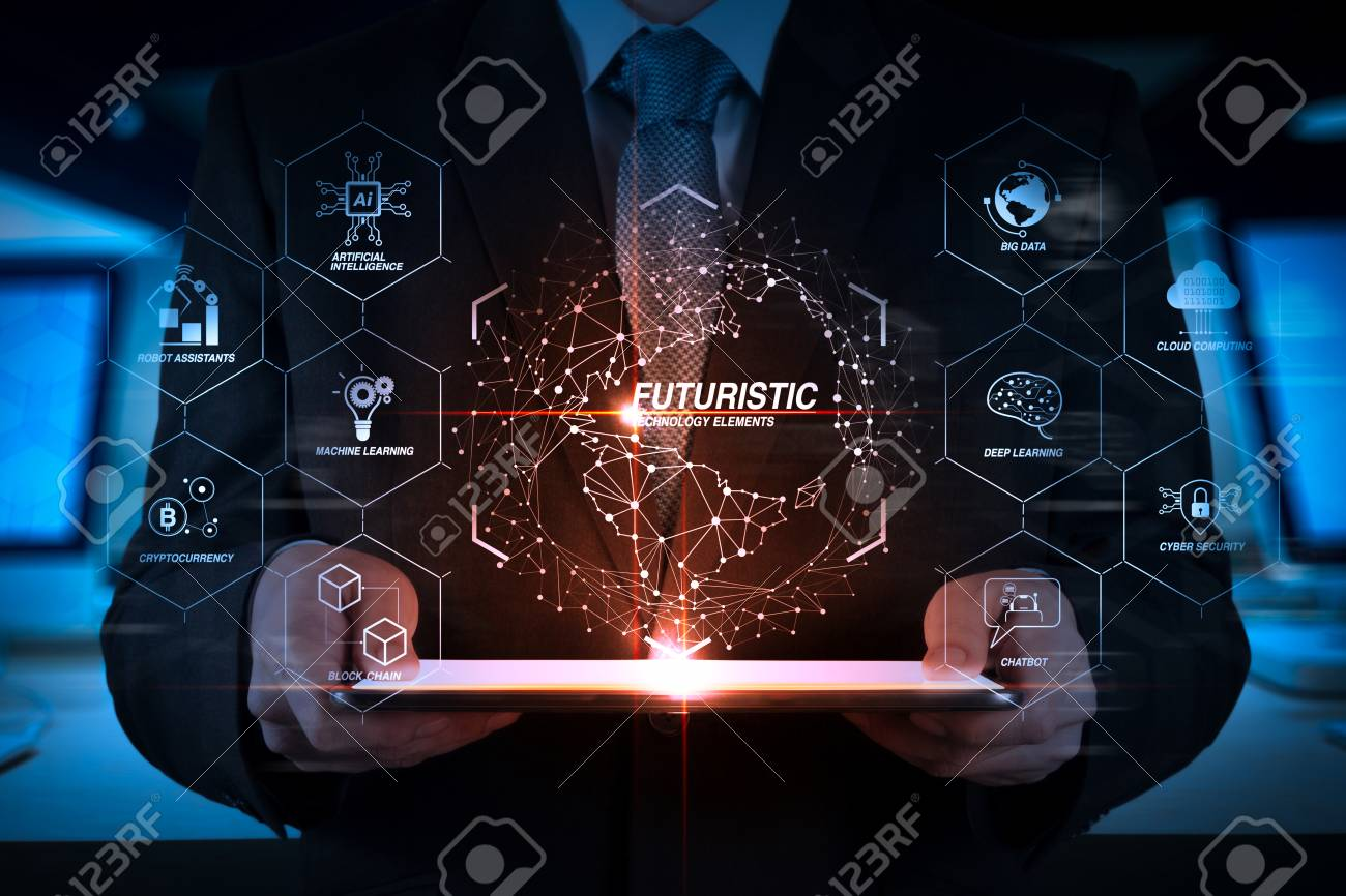 Futuristic in Industry 4 0 and business virtual diagram with