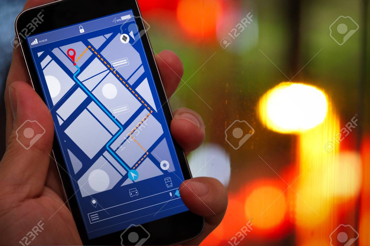 Close up of Tourist using GPS map navigation on smartphone application screen for direction to destination address in the city with travel and technology concept. - 106949260